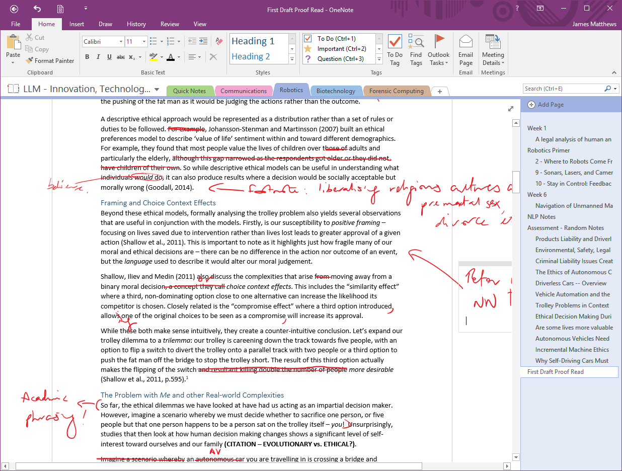 OneNote Proofread